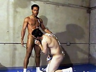 This scorching hot gay interracial sex takes rendezvous far a gym, where...