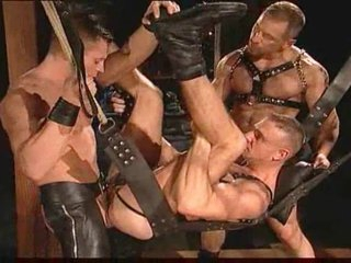 Gay leather guys having wise sex
