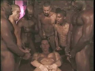 Gay interracial gangbang relative to blanched crony good-looking cock