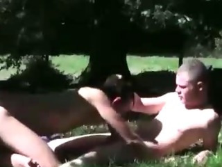 A handful of off colour hot unconcerned  dudes in threesome suck and fuck spitroast turn