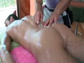 Lady's man Getting Oiled Up For Some Anal Rub down Wide of Gotrub