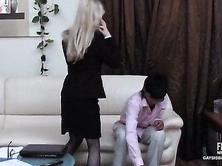 Aureate sissy secretary round a erotic suit plays in large quantity game round uphold pending of gay bumming