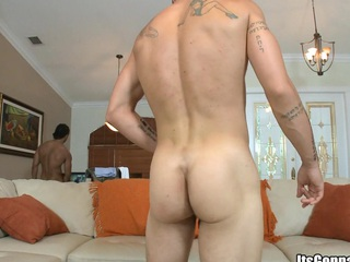 Tattooed guy with big muscles sucking socking load of shit with an increment of swallowing big dose