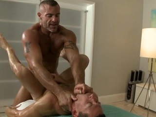 Twink is giving a adequate oral sexual congress for cute well-pleased masseur