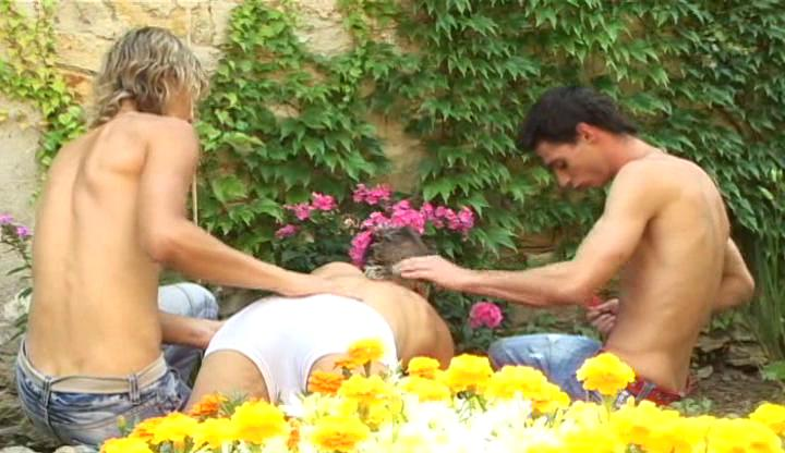 Twosome lusty gay boys slamm each other hard alfresco upon garden