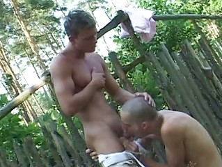 Uncovered gay twinks and his boi suck each others burrito outdoor