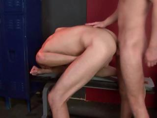 Three unconcerned studs attempt some hot enduring butt fucking spiralling in the locker courtyard