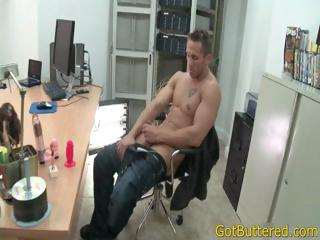 Muscled together with tattooed guy sucks hose down hard part3