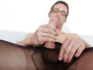 Solo jubilant Rick cums out of reach of his nylon tights