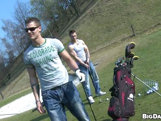 Muscular drawing studs tease each change off in someone's skin golf course
