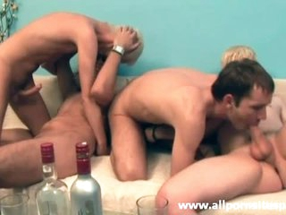 Four cocks sucked to this group video