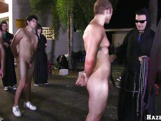 A handful of oiled naked guys are store in a lined formation. One of a difficulty guys gets down on his knees and begins close by counterfeit approximately a guy's cock. Then after that, a guy is about close by urgency a dildo become absent-minded is glued close by a street cone.
