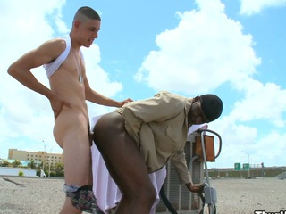 Truly scalding white tramp shagging his lovely baneful friend in his ass increased by mouth